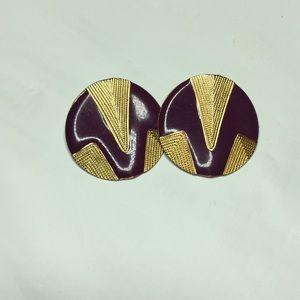 Jewelry - Purple &Gold Earrings